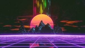 Retrowave, Synthwave, Grid, Mountain, Landscape, 4k, 6