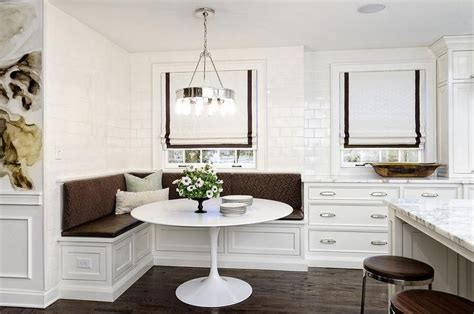 white  brown dining nook  filled    shaped