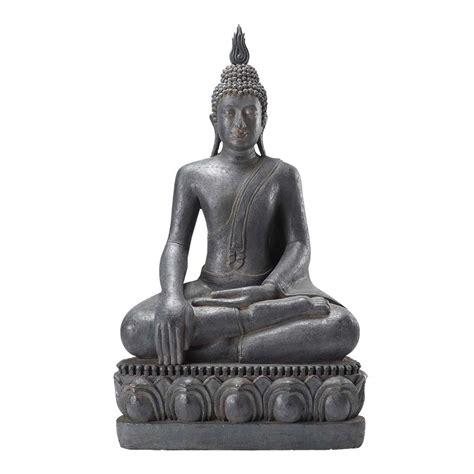 chambre deco ado statue bouddha assis en résine grise h 150 cm maisons du