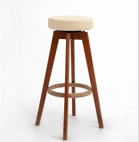 wooden swivel bar stools modern brown finish leather