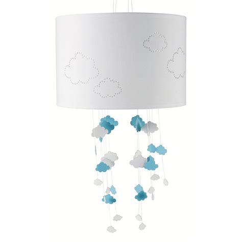 suspension chambre bébé fille suspension non électrifiée en tissu blanc bleu d 30 cm