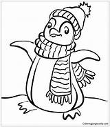 Winter Penguin Pages Coloring sketch template