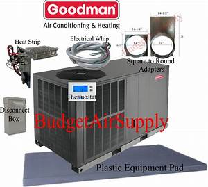 3 5 Ton 14 Seer Goodman Heat Pump Package Unit Gph1442h41 Tstat  Install Kit