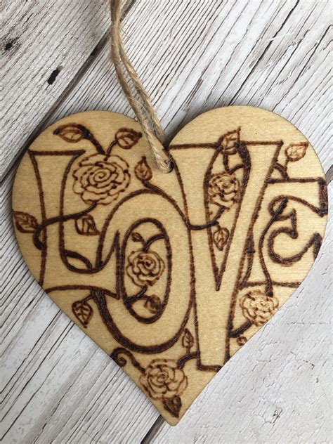 wooden hanging heart cm pyrography wooden heart wood