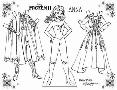 Frozen Coloring Anna Paper Dolls Elsa Printable