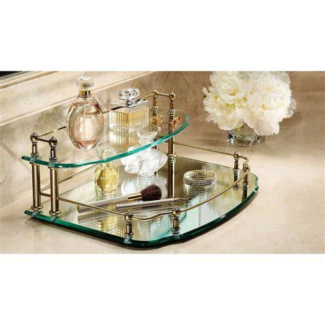 Mirrored Bathroom Tray by Mirror Mirrored Perfume Tray With Decorative