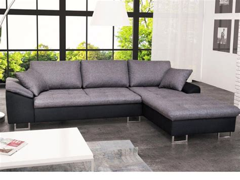 canape bicolore design canapé d 39 angle en tissu et simili allegri ii gris et noir