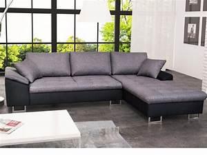 Canapé d'angle en tissu et simili ALLEGRI II Gris et noir