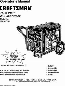 Craftsman 580327181 User Manual 7500 Watt Ac Generator