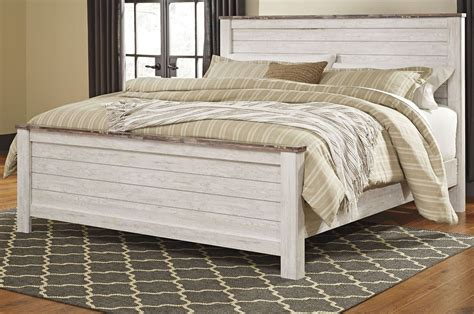 whitewash bedroom furniture willowton whitewash panel bedroom set b267 54 57 98 ashley 13863   b267 58 56 99 1