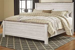 Willowton whitewash panel bedroom set b267 54 57 98 ashley for Whitewash bedroom furniture