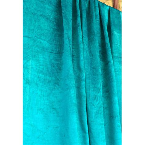 turquoise blue cotton viscose velvet grommet blackout lined