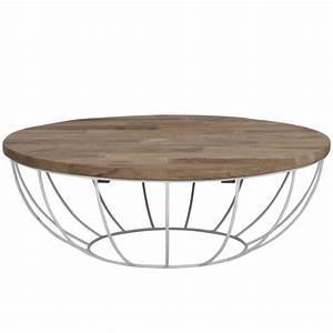 Table Ronde Aluminium : table basse pied metal plateau teck massif recycl 100cm ~ Teatrodelosmanantiales.com Idées de Décoration