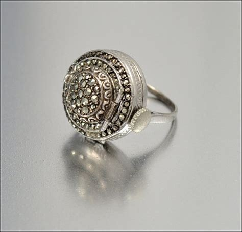 sterling silver art deco bucherer  ring marcasite