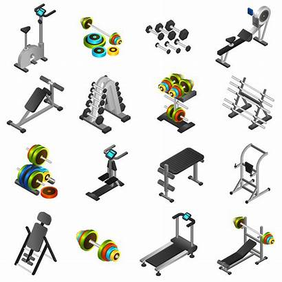 Equipment Fitness Vector Icons Realistic Clipart Training