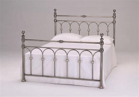 double metal bed frame brushed nickel  slats