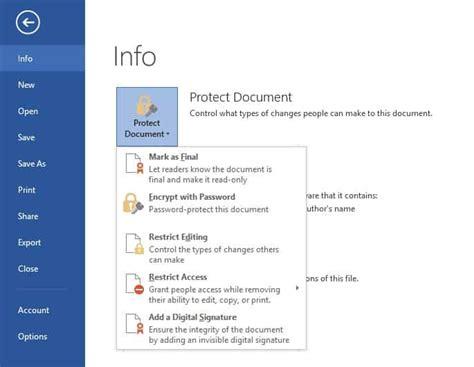 password protect microsoft word document
