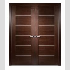 "72"" X 80"" Maximum Wenge Brown Modern Interior Double Door"