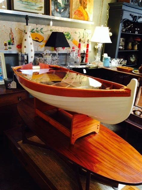 row boat coffee table hand crafted wooden nautical posts