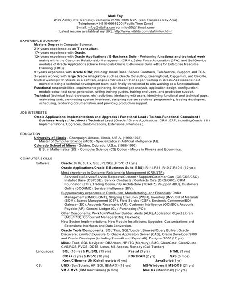 sle resume oracle functional consultant millennium focus
