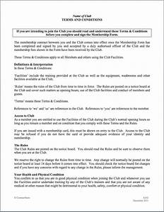 Sports health or gym club membership agreement for Exercise contract template