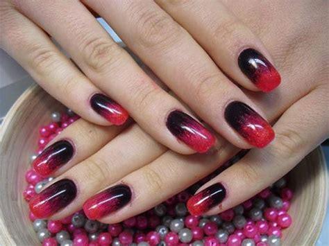 black red gel nail art designs ideas