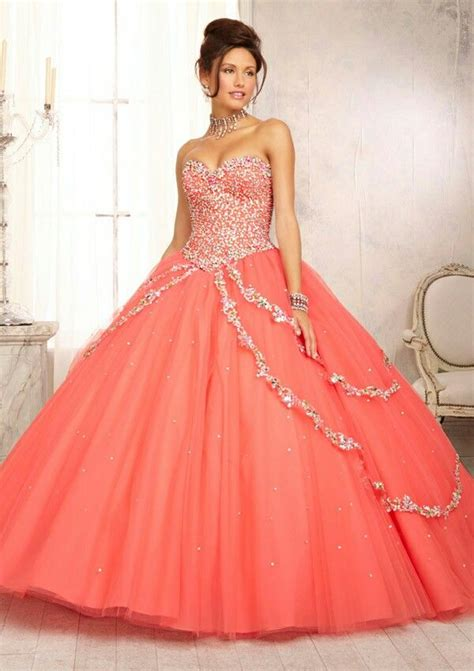 Spectacular quinceanera dresses for the very special birthday! Coral Quinceanera dress | citlalis quince | Pinterest