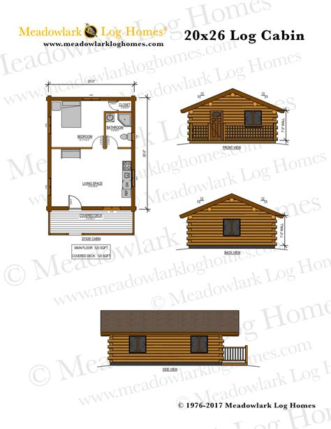 20x26 log cabin meadowlark log homes