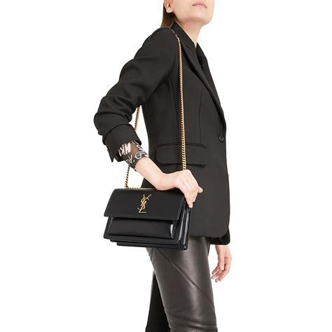 authentic saint laurent sunset medium shoulder bag  gold chain black  modaqueencom