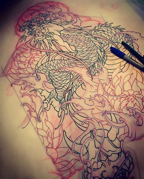 amsterdam tattoo  kimihito dragon hannya mask tattoo design full sleeve tattoo kimihito