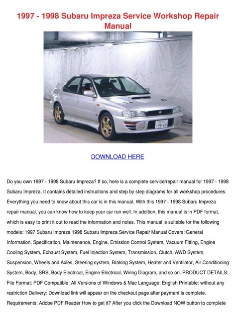 automotive air conditioning repair 1996 subaru impreza parental controls 1997 1998 subaru impreza service workshop rep by sebastianpinson issuu