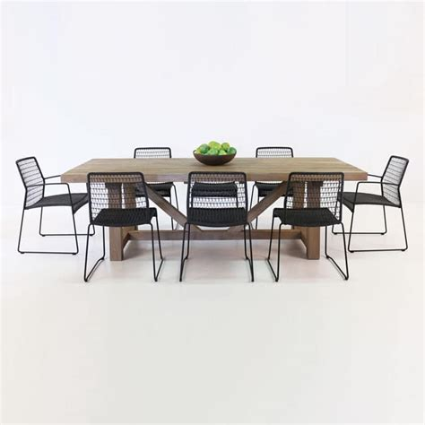 trestle table  edge chairs outdoor dining set teak