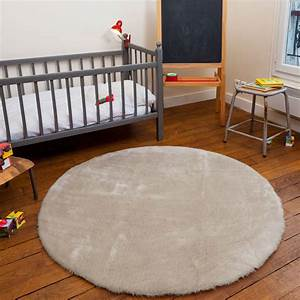 Tapis rond beige pilepoil decoration smallable for Tapis rond beige