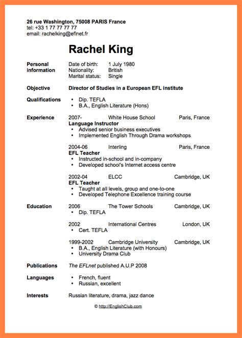 Curriculum Vitae Format For Application by 7 Curriculum Format Project