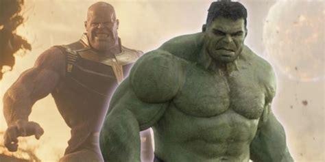 hulk  terrified  thanos  avengers infinity war