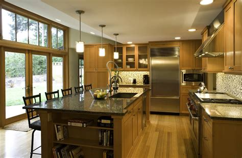kitchen island with dining table layout of kitchen island and bookcase at end