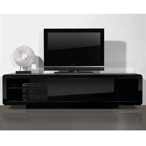 meuble tv bas noir laque