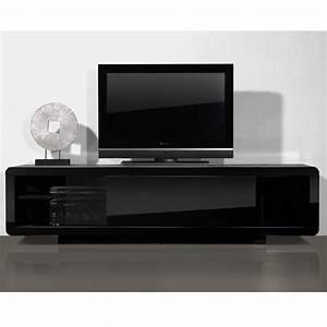 Meuble Tv Noir : meuble tv bas noir laque ~ Teatrodelosmanantiales.com Idées de Décoration