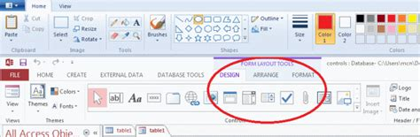c form design tools add controls in access 2013