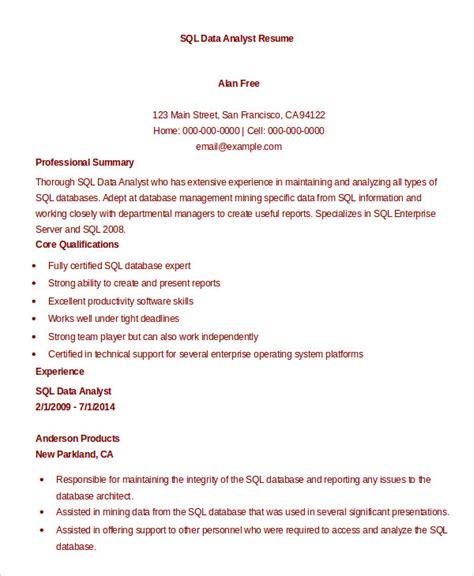 Sql Analyst Resume by 9 Data Analyst Resume Exles Pdf Doc Free