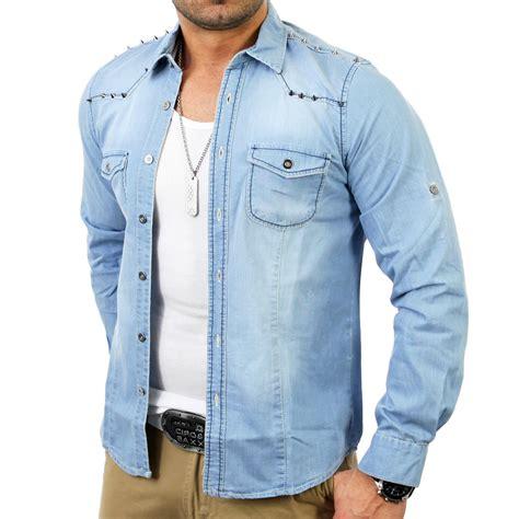 Jeanshemd Herren Nieten Langarm Reslad  Hemden online