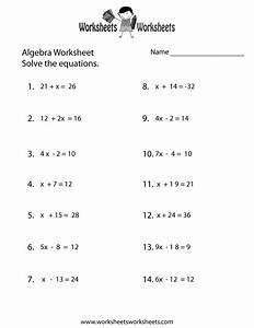 Simple Algebra Worksheet Printable | School | Pinterest ...