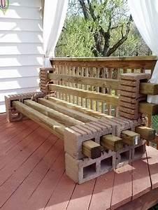 Fabriquer Un Banc De Jardin Original : un banc de jardin original en parpaing et tasseaux de bois ~ Melissatoandfro.com Idées de Décoration