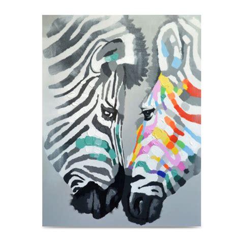 toile peinte 224 la 92x120cm multicolore zebre toiles d 233 coratives affiches et d 233 co