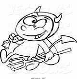 Devil Outline Cartoon Coloring Pitchfork Drawing Candy Boy Vector Carrying Sack Sketch Template Getdrawings sketch template