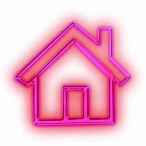 Glowing Purple Neon Icon Business Home Pink