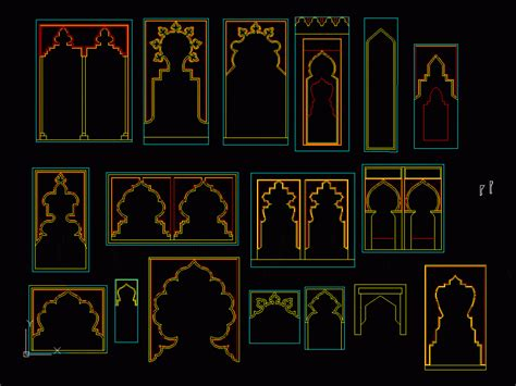 islamic arches  dwg elevation  autocad designs cad
