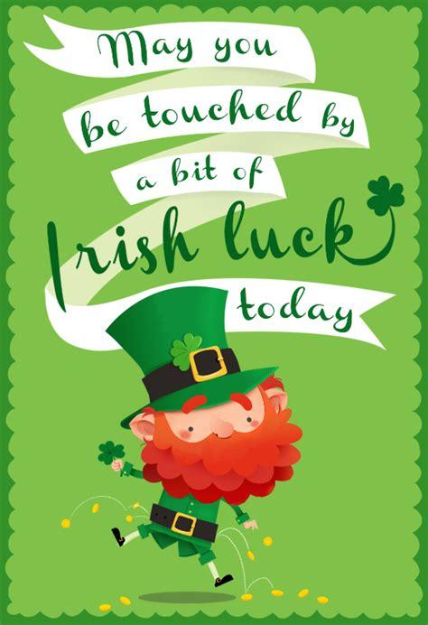 touched   bit  irish luck st patricks day card