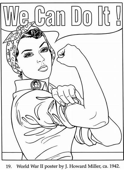 Coloring Rosie Riveter Pages Poster Printable Womens