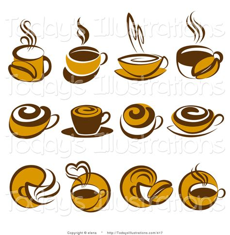 Download 2,668 coffee cup icon free vectors. Clipart of a Digital Collage of Twelve Brown Coffee Logo Icons by elena - #417